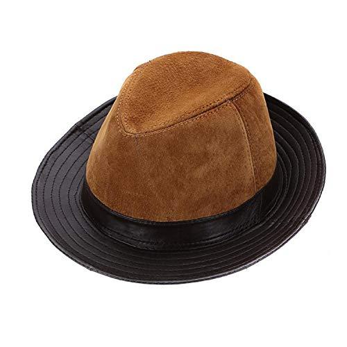Fedoras Hats Brown Real Leather Classic Jazz Caps Gentleman Italian Design Genuine Leather Spring Felt Trilby Hat Men