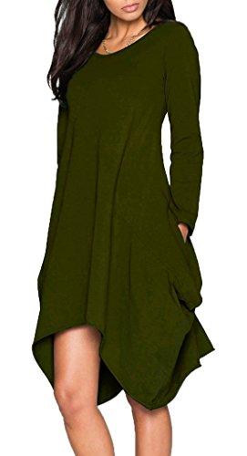 Ladylala Women's Long Sleeve Pockets Loose Casual Dress ArmyGreen L