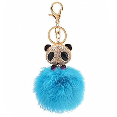Fusicase Cute Rex Rabbit Fur Hair Plush Ball Keyring With Colorful Shiny Crystal Sparkle Rhinestone Diamond Panda Keychain Pandent For Car - Dark Sky Chain