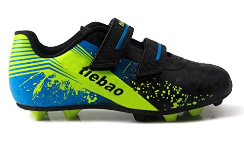 Pictures of T&B Kid Soccer Cleats Light Weight comfort Black/ Neon Green/Blue 5