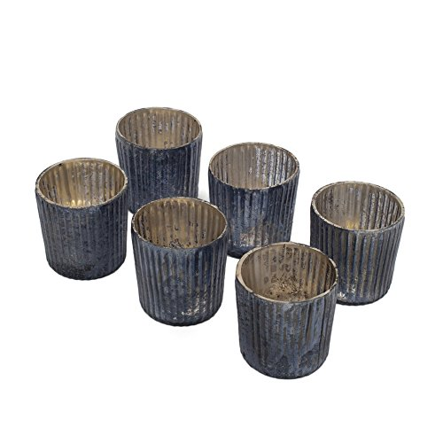 Platinum Frost Ribbed Votive Holders, Set of 6