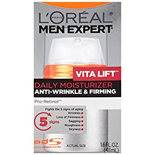 Face Moisturizer for Men, Lightweight Daily Face Lotion for men, Beard and Skincare for Men, L'Oreal Paris Skincare Men Expert Vitalift Anti-Wrinkle & Firming Face Moisturizer with Pro-Retinol, 1.6 oz