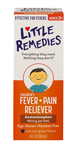 Little Remedies Childrens Fever + Pain Reliever | Natural Grape Flavor | 4 oz | For Ages 2+