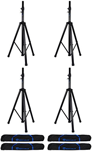 4 Rockville DJ PA Tripod Speaker Stands+Bags, Hydraulic Air Auto Lift RVSS4AB by Rockville