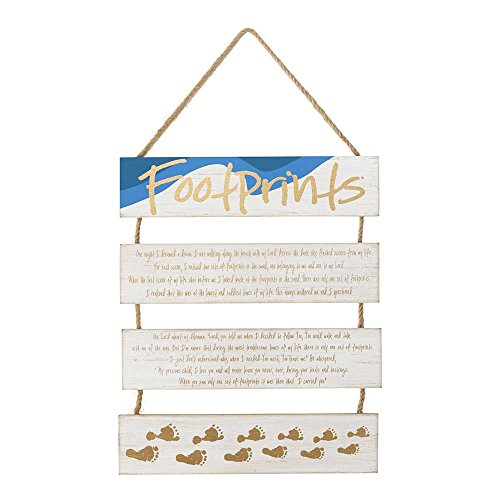 Dicksons Footprints In The Sand Rustic White 21 x 12 Wood Wall Plaque Hanging Sign]()
