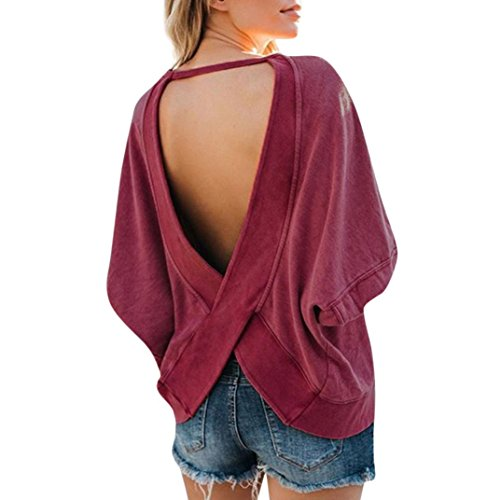 Kinrui Sexy Blouse for Women, Ladies Casual Crop Solid Long Sleeve Backless T-Shirt Blouse Sweatshirt Tops (Blue, US:18) (Red, US:16) by Kinrui