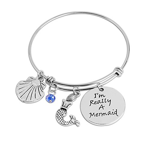 Bangles Bangle Shell (Shell Rhinestone I'm really a mermaid Engraved Shell Expandable Wire Bangle Charm Bracelet)