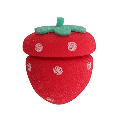 Mia Fruit Rolls-Soft Foam Hair Rollers Shaped Like Strawberries In PET Zipper Storage Case (6 pieces per case)
