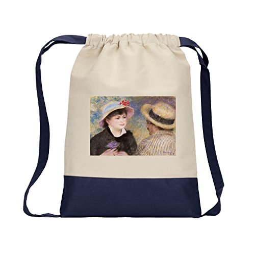 Boating Couple (Renoir) Canvas Backpack Color Drawstring Bag - Navy by Style in Print