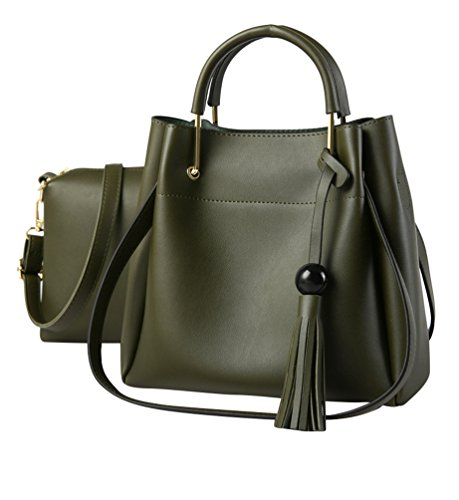 Baymate Borlas Bolsos PU Piel para Mujer Moda Tote Bag Bolsos y Saco de hombro Carteras 2 piezas Oscuro Verde