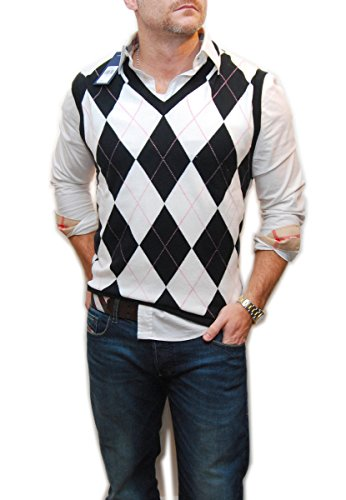 Polo Golf Ralph Lauren Men V-Neck Knit Sweater Vest Argyle Navy White (Ralph Lauren V-neck Sweater Vest)