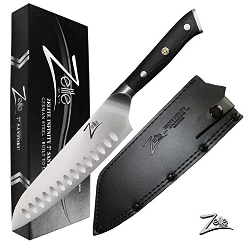 (ZELITE INFINITY Santoku Knife 7 inch | Alpha-Royal German Series | German High Carbon Stainless Steel | Granton Edge | Pakkawood Handle | Full Tang | Leather Sheath)