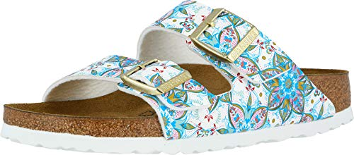 Birkenstock Women's Arizona Birko-Flor Narrow Fit Sandal, Bohemian Flower White (BOHOWHT), 40