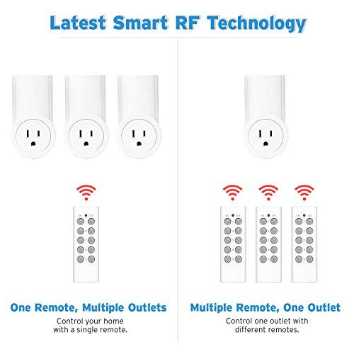 Etekcity Remote Control Outlet Kit Wireless Light Switch for Household Appliances, Pair Freely, Up to 100 ft. Range, FCC ETL Listed, White (Learning Code, 5Rx-2Tx) by Etekcity (Image #3)