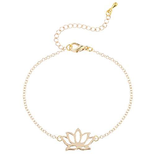 Hollow Lotus Anklet Bracelet Gold Lotus Bracelet Jewelry Womens Gift