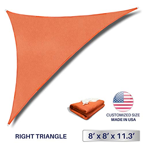 Windscreen4less 8 x 8 x 11.3 Triangle Sun Shade Sail – Solid Orange Durable UV Shelter Canopy for Patio Outdoor Backyard Included Free Pad Eyes – Custom Size 3 Year Warranty
