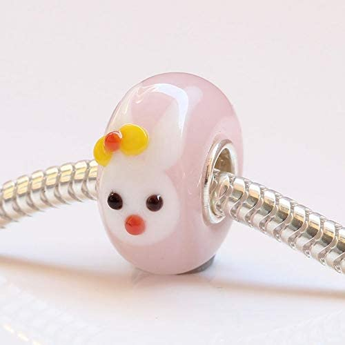 Calvas 925 Sterling Silver Large Hole Murano Glass Animal Cute Rabbit with Bow and Carrot Charm Bead Fit European Bracelet Jewelry