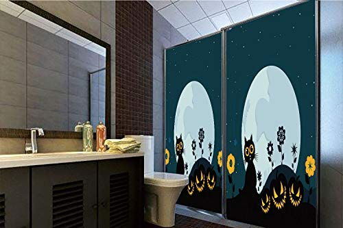 Horrisophie dodo 3D Privacy Window Film No Glue,Halloween Decorations,Cute Cat Moon on Floral Field with Starry Night Sky Star Cartoon Art,Blue Black,47.24
