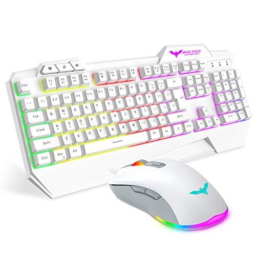 Havit Keyboard Rainbow Backlit Wired Gaming Keyboard Mouse Combo, LED 104 Keys USB Ergonomic Wrist Rest Keyboard, 3200 DPI Mouse for PC Gamer (White)
