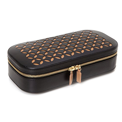 WOLF Chloé Zip Jewelry Case, 4.5x9.25x2.25, Black