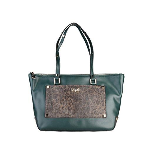 Cavalli Class Tilda Shopping bag Mujer Dunkelgrün/Leopard