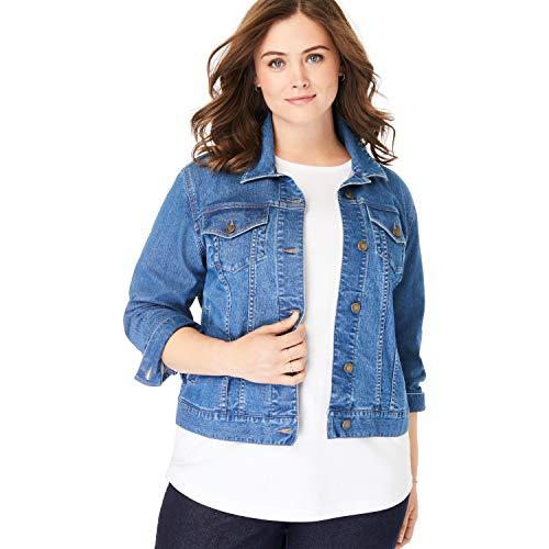 - Woman Within Women's Plus Size Stretch Denim Jacket - Medium Stonewash, 14 W