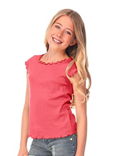 Kavio! Big Girls 7-16 Lettuce Edge Scoop Neck Cap Sleeve Top Rose XL ()