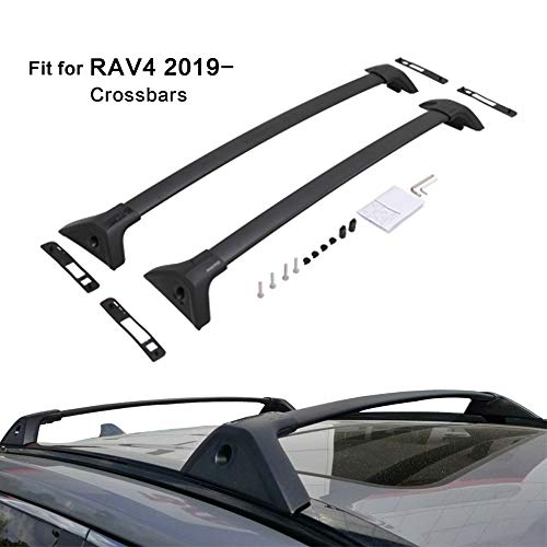 Kingcher 2 Pieces Cross Bars Fit for Toyota RAV4 2019 2020 Black Crossbars Roof Rack Baggage Luggage Lockable (Rav4 Roof Rack)