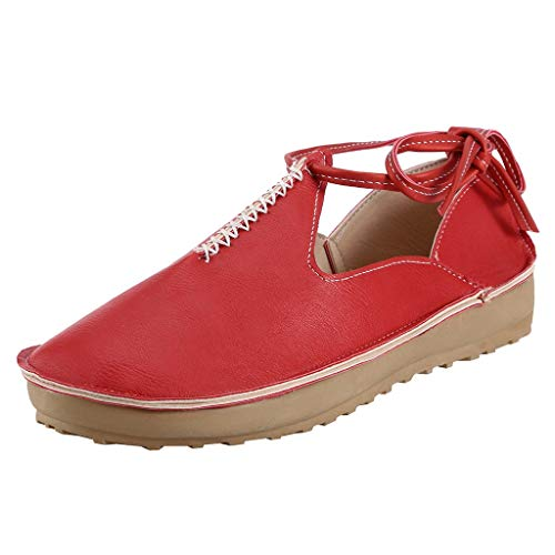 (CCFAMILY Women's Summer Peas Single Shoes Ladies Side Lace-Up Sneaker Vintage Breathable Casual Shoes Red)