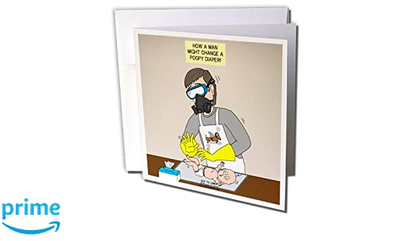Amazon.com : 3dRose A Male Approach to Changing A Poopy Aka Daddy Diaper Duty - Greeting Cards, 6