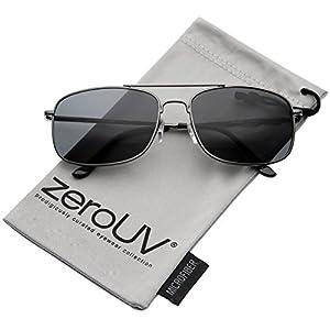 zeroUV - Classic Metal Crossbar Spring Loaded Hinges Square Lens Aviator Sunglasses 55mm (Gunmetal/Smoke)