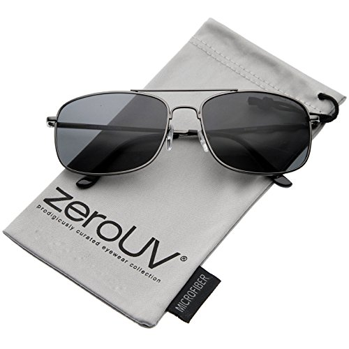 zeroUV - Classic Metal Crossbar Spring Loaded Hinges Square Lens Aviator Sunglasses 55mm (Gunmetal / - Sunglasses Aviator Size 55