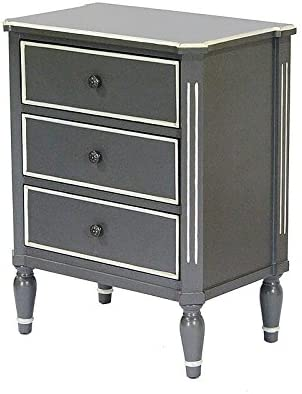 Heather Ann Creations Bombay Series Premium Wood Small 3 Drawer Classic Bedroom Storage Dresser, Gray White Trim