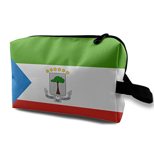 Cosmetic Bag Equatorial Guinea Flag Makeup Pouch Toiletries Bags Storage Accessories Pen Pencil Power Lines Travel Cases ()