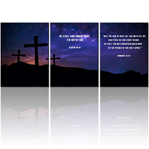 Welmeco Canvas Wall Art Cross on Mountaion Top at Fancy Starry Night with Bible Verse Picture Prints Inspirational Quotes Home Office Decoration Ready to Hang (01) ()