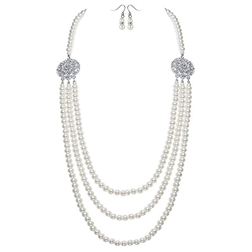 BABEYOND 1920s Gatsby Pearl Necklace Vintage Bridal Pearl Necklace Earrings Jewelry Set Multilayer Imitation Pearl Necklace with Brooch (Style ()