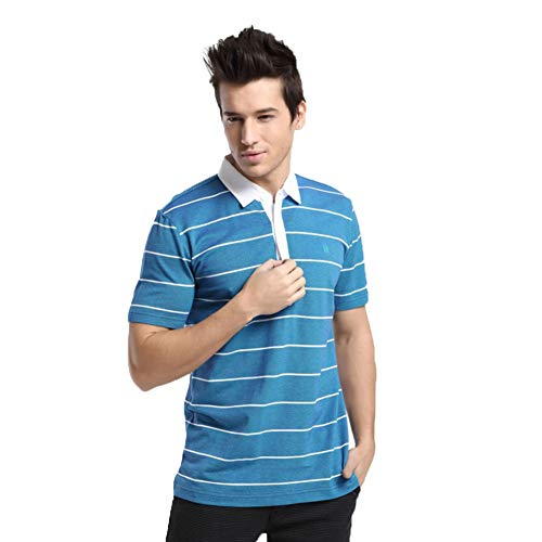 (LYWWH Men's Striped Polo Shirt Cotton Shirt Summer Short Sleeve T-Shirt American Casual Wear,48)