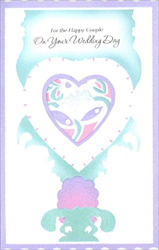 Pastel Wedding Bells in Die Cut Heart - Freedom Greetings Wedding Card