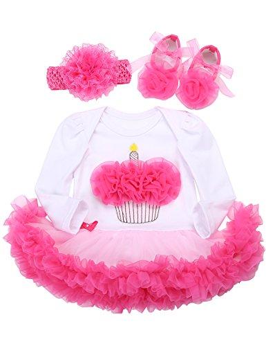 Fubin Tutu 1 Year Birthday Baby Dress Baby Girl Clothes Shoe Headband 3 Pcs Set, White/Pink (Cake4) 7-9Months/26-29''/18-21lb