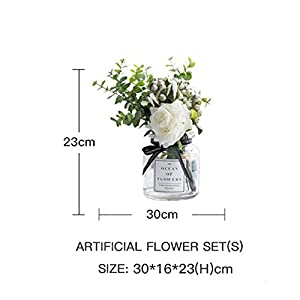 Ins Style Vase with Artificial Flower Set 1 Piece Fake Rose Berry Leaf Floral Flower Arrangement Glass Rose (White S) 5