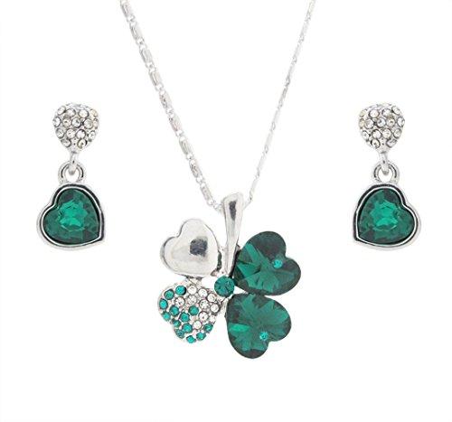 DaisyJewel Dark Green Crystal Lucky Clover Pendant Necklace and Heart Drop Earrings Set
