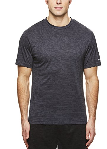 HEAD Men's Crewneck Gym Training & Workout T-Shirt - Short Sleeve Activewear Top - Pack Ebony Heather Black, X-Large