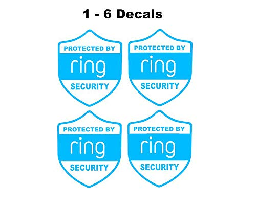1-6 pcs Ring Alarm Security decal for windows doors home doorbell or yard like a sticker NO BACKGROUND