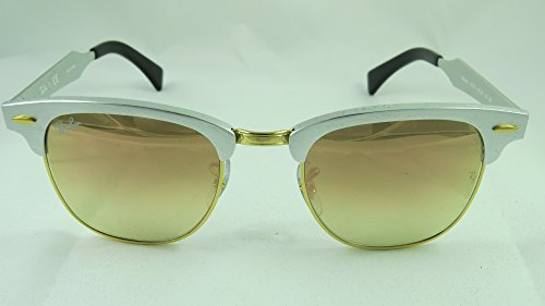 Ray-Ban CLUBMASTER ALUMINUM - BRUSCHED SILVER Frame COPPER FLASH GRADIENT Lenses 49mm - Bans Ray Aluminum