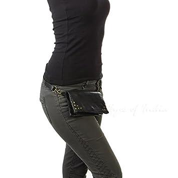 2fea1b3402e Eyes of India - Black Leather Belt Bum Hip Waist Pouch Bag Womens ...