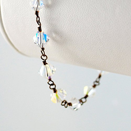 Clear Swarovski Crystal Bracelet in Dark Brass
