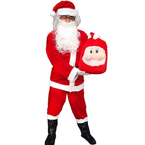 【テレビで話題】 (LuluLAB)サンタ コスプレ 衣装 袋付き 衣装 メンズ B07KQSF9ZV メンズ クリスマス 大人 9点フルセット B07KQSF9ZV, 高岡町:14036be9 --- a0267596.xsph.ru