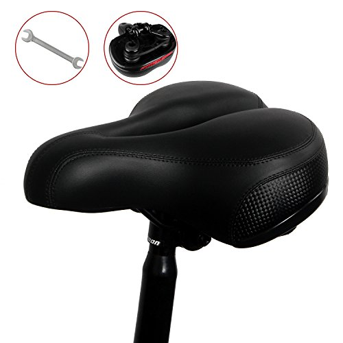 LYCAON Bicycle Bike Saddle Seat, Super-Soft & Extra-Thick, Bicycle Pad Cushion for MTB BMX Cruiser Mountain Road Bike ( Black )