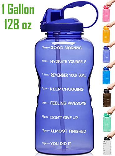 Venture Pal Large 1 Gallon/128 OZ Motivational BPA Free Leakproof Water Bottle with Straw & Time Marker Perfect for Fitness Gym Camping Outdoor Sports-Purple