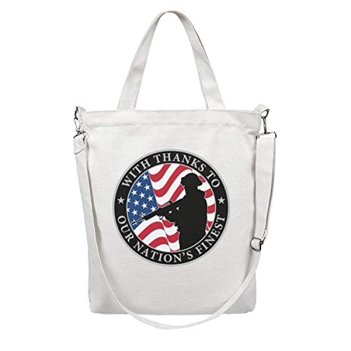 Canvas Tote Bag Shoulder Free Military Logos Cliparts Tote Bag Handbag Spacious and Roomy Foldable Handbag Women ()
